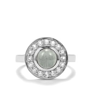 Aquamarine & White Topaz Sterling Silver Ring ATGW 2.19cts