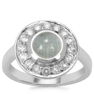Aquamarine Ring with White Topaz Zircon in Sterling Silver 2.19cts