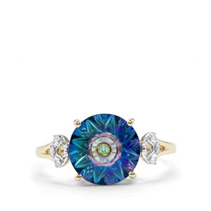 Lehrer QuasarCut Mystic Topaz Ring with Diamond in 10K Gold 3.39cts