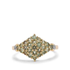 Alexandrite Ring with Diamond in 9K Gold 1cts