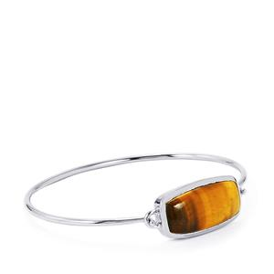 Tigers Eye Bar Bangle in Sterling Silver 16.96cts