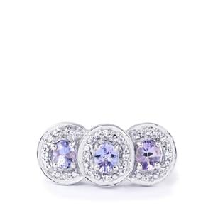 Tanzanite Ring with White Topaz in Sterling Silver 1.26cts