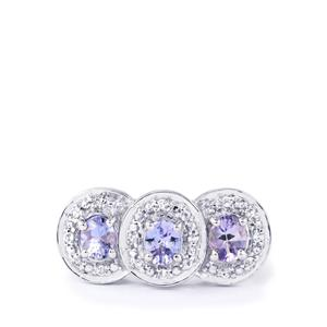 Tanzanite & White Topaz Sterling Silver Ring ATGW 1.26cts
