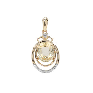 Minas Novas Hiddenite Pendant with White Zircon in 9K Gold 4.44cts