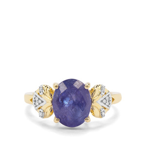 AA Tanzanite & Diamond 9K Gold Ring ATGW 3.54cts