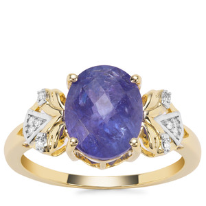 AA Tanzanite Ring with Diamond in 9K Gold 3.54cts