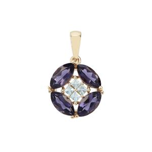 Bengal Iolite Pendant with Sky Blue Topaz in 9K Gold 2.04cts