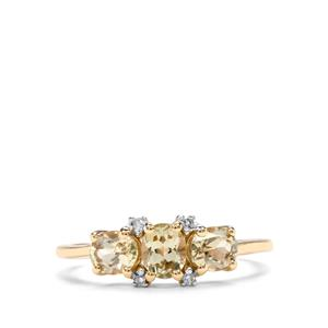 Csarite® Ring with Diamond in 10k Gold 1.11cts