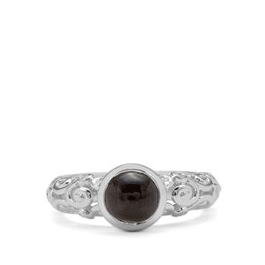 Cats Eye Enstatite Ring with White Zircon in Sterling Silver 2.05cts