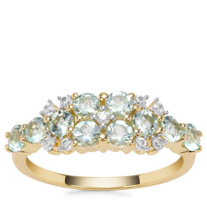 Aquaiba™ Beryl Ring with White Zircon in 9K Gold 1.12cts