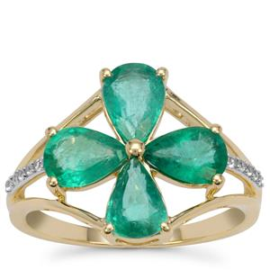 Zambian Emerald Ring with White Zircon in 9K Gold 2.60cts