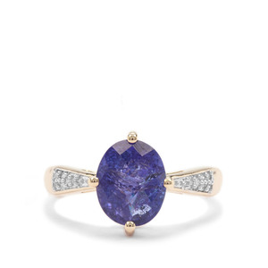 AAA Tanzanite Ring with Diamond in 9K Gold 3.52cts