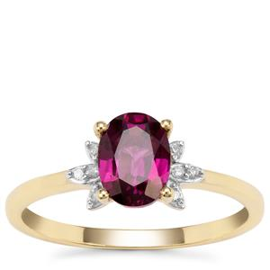 Comeria Garnet Ring with Diamond in 9K Gold 1.37cts