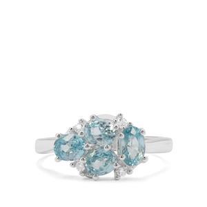 2.50ct Ratanakiri Blue & White Zircon Sterling Silver Ring