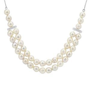 South Sea Cultured Pearl & White Zircon Sterling Silver Necklace (8mm)