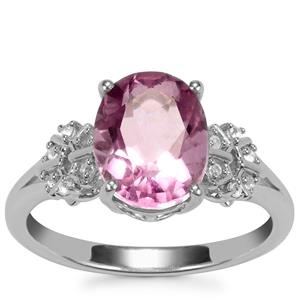 Natural Pink Fluorite Ring with White Topaz in Sterling Silver 3.25cts