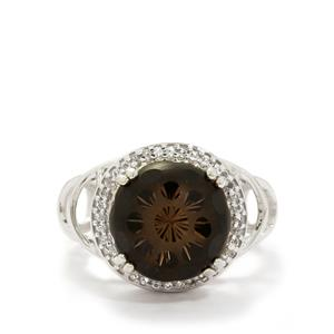 "Smokey Quartz ""Chantilly Cut"" & White Topaz Sterling Silver Ring ATGW 6.03cts"