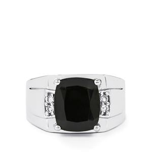 Black Spinel Ring with White Topaz in Sterling Silver 6.44cts
