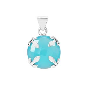 15ct Aqua Chalcedony Sterling Silver Aryonna Pendant