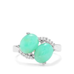 Prase Green Opal & White Zircon Sterling Silver Ring ATGW 3.56cts
