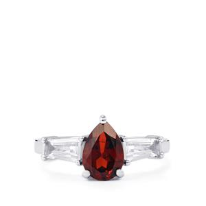 Mozambique Garnet & White Topaz Sterling Silver Ring ATGW 2.43cts