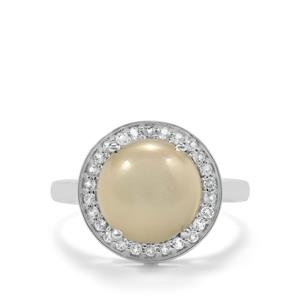 White Moonstone Ring with White Topaz in Sterling Silver 3.89cts