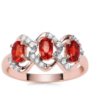 Songea Ruby Ring with White Zircon in 9K Rose Gold 1.16cts