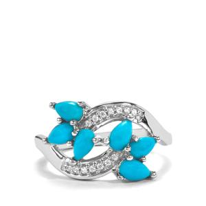 Sleeping Beauty Turquoise Ring with White Zircon in Sterling Silver 1.12cts