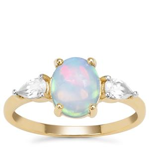Kelayi Opal Ring with White Zircon in 9K Gold 1.66cts