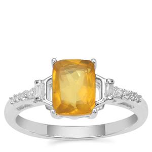 Burmese Amber Ring with White Zircon in Sterling Silver 0.63ct
