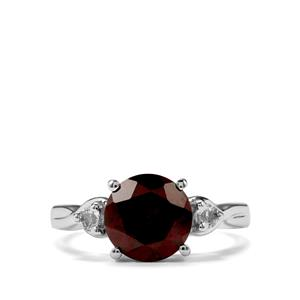 Rajasthan Garnet & White Topaz Sterling Silver Ring ATGW 3.21cts