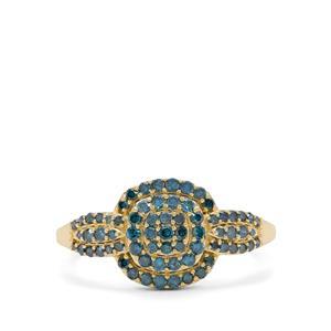1/2ct Blue Diamond 9K Gold Ring