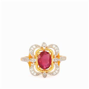 Thai Ruby Ring with White Topaz in Gold Plated Sterling Silver 1.75cts