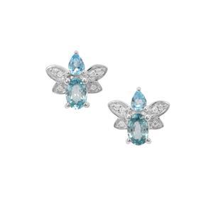 Marambaia London Blue Topaz, Ratanakiri Blue Earrings with White Zircon in Sterling Silver 1.93cts