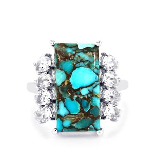 Egyptian Turquoise & White Topaz Sterling Silver Ring ATGW 10.11cts