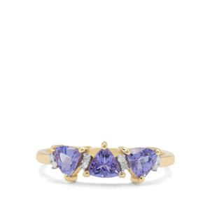 Tanzanite & Diamond 9K Gold Ring ATGW 1.05cts