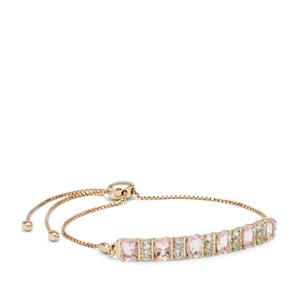 Cherry Blossom™ Morganite Slider Bracelet with Aquaiba™ Beryl in 9K Gold 3cts