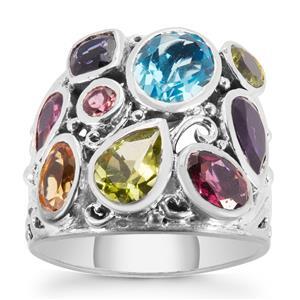 Kaleidoscope Gemstones Samuel B Ring in Sterling Silver 4.60cts
