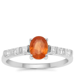 Mandarin Garnet Ring with White Zircon in Sterling Silver 1.54cts