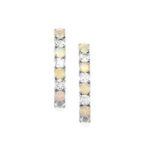 Ethiopian Opal Earrings with White Topaz in Sterling Silver 3.91cts