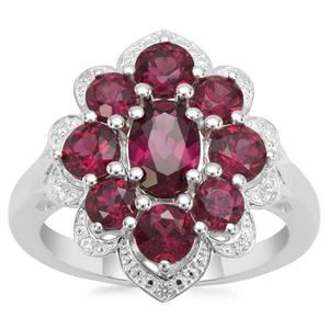 Tocantin Garnet Ring with White Zircon in Sterling Silver 3.32cts