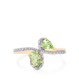 Cuprian Tourmaline Ring with Diamond in 10K Gold 0.76ct