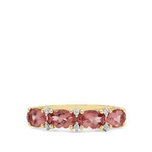 Rosé Apatite Ring with White Zircon in 9K Gold 2.11cts