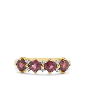 Burmese Purple Spinel & White Zircon 9K Gold Ring ATGW 1.60cts