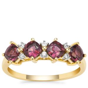 Burmese Purple Spinel Ring with White Zircon in 9K Gold 1.60cts
