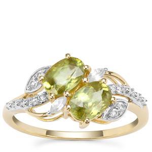 Ambilobe Sphene Ring with White Zircon in 9K Gold 1.46cts