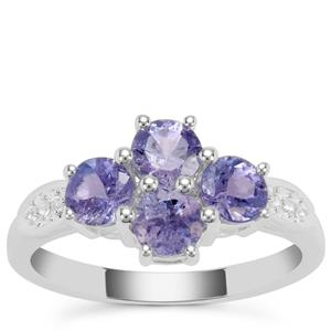Tanzanite Ring with White Zircon in Sterling Silver 1.76cts