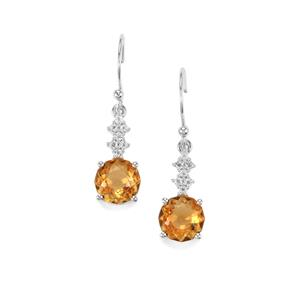 Lotus Cut Diamantina Citrine & White Topaz Sterling Silver Earrings ATGW 4.36cts