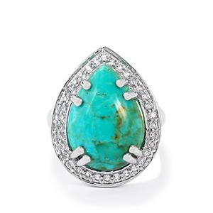 Cochise Turquoise & White Topaz Sterling Silver Ring ATGW 9.15cts