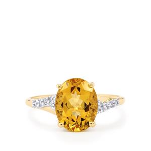 Xia Heliodor & White Zircon 10K Gold Ring ATGW 2.35cts